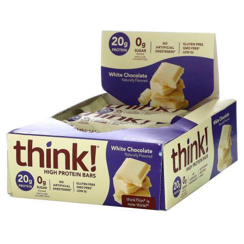 ThinkThin, ThinkThin, батончики с высоким содержанием белка, Белый шоколад, 10 батончиков, (60 г) каждый