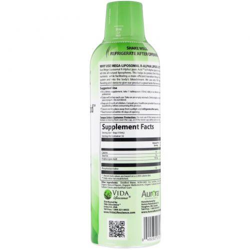 Aurora Nutrascience, Mega-Liposomal R-Alpha Lipoic Acid, натуральный фруктовый вкус, 750 мг, 16 ж. унц. (480 мл)