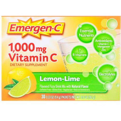 Emergen-C, растворимый шипучий витамин C со вкусом лимона, 1000 мг, 30 пакетов по 9.3 г каждый