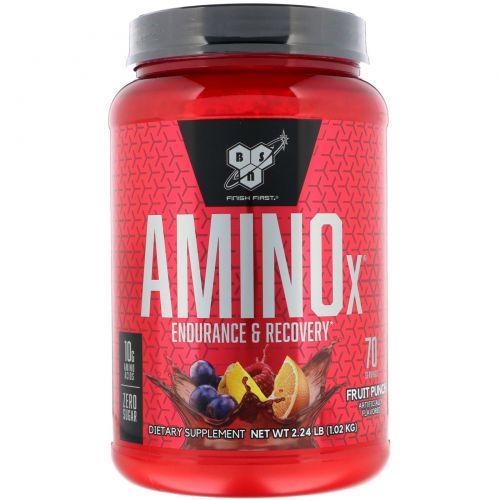 BSN, AminoX, Формула с аминокислотами с разветвлённой цепью, Без кофеина, Фруктовый пунш, 2,23 фунта (1,01 кг)