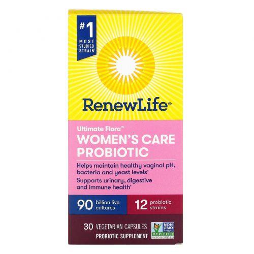 Renew Life, Ultimate Flora, Women's Care Probiotic, 90 Billion Live Cultures, 30 Vegetarian Capsules