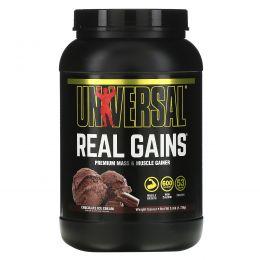 Universal Nutrition, Real Gains, средство для прибавления веса, со вкусом шоколадного мороженого, 3.8 фунта (1.73 кг)
