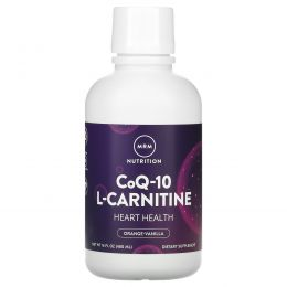 MRM, Коэнзим Q-10, 100 мг с L-карнитином 1000 мг, с натуральным ароматизатором апельсина, 16 жидких унций (480 мл)