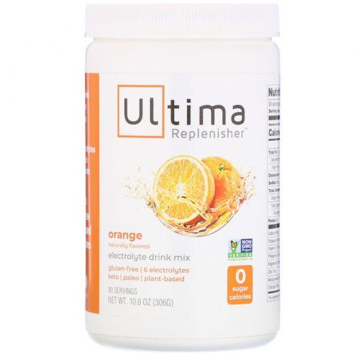 """Ultima Health Products, """"Предельный восполнитель"""", порошок электролитов с апельсиновым вкусом, 10,8 унции (306 г)"""