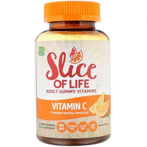 Hero Nutritional Products, Slice of Life, витамин C, мармеладные витамины для взрослых, апельсин, 60 мармеладок