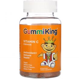 GummiKing, Витамин  C для детей с натуральным апельсиновым вкусом , 60 жевательных витаминов