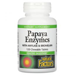 Natural Factors, Chewable Papaya Enzymes, 120 таблеток