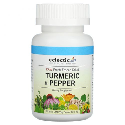 Eclectic Institute, Куркума и перец, 430 мг, 90 растительных капсул без ГМО