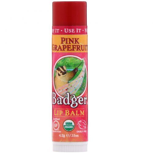 Badger Company, Органический бальзам для губ с розовым грейпфрутом, 0,15 унции (4,2 г)