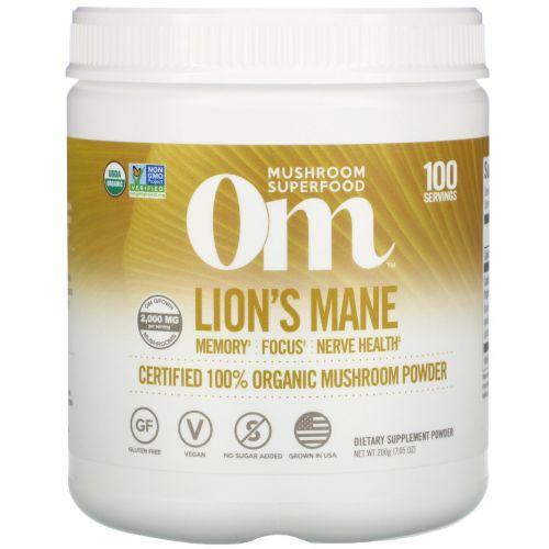Organic Mushroom Nutrition, Львиная грива, грибной порошок, 7.14 унций (200 г)