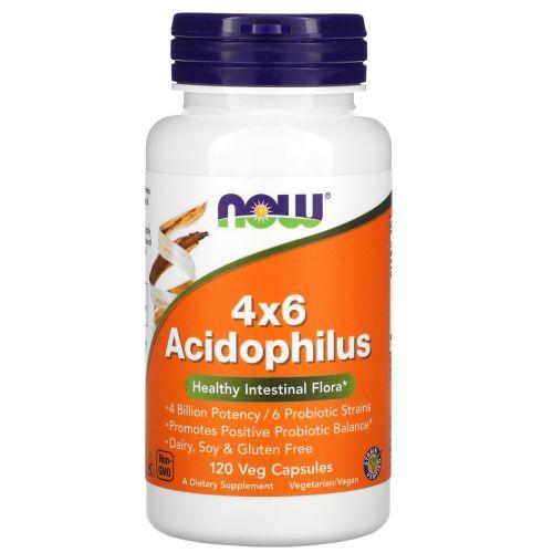 Now Foods, 4x6 ацидофильные бактерии, 120 растительных капсул
