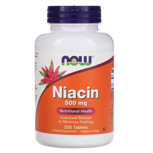 Now Foods, Ниацина пролонгированного высвобождения, 500 мг, 250 таблеток