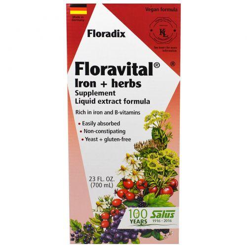 Flora, Флорадикс, Флоравитал, Глюконат Железа + Травы, 23 жидких унции (700 мл)