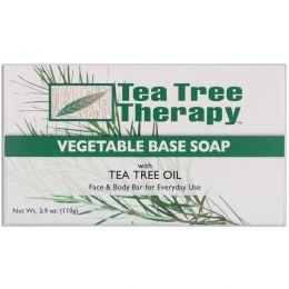 Tea Tree Therapy, Мыло на растительной основе с маслом чайного дерева, брусок, 3.9 унций (110 г)