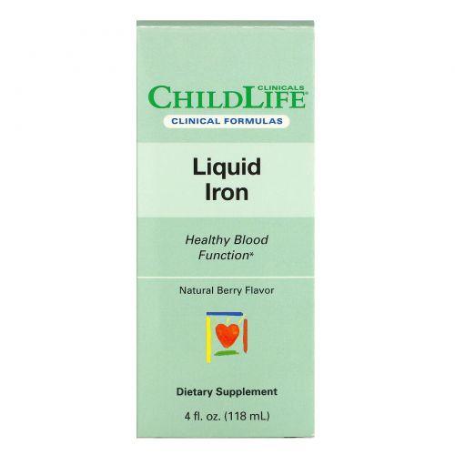Childlife Clinicals, жидкое железо, с натуральным ягодным вкусом, 118мл (4жидк. унции)