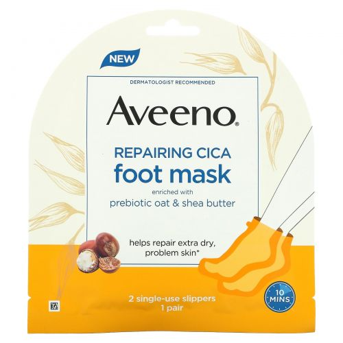 Aveeno, Восстанавливающая маска для ног Cica, 2 одноразовых тапочка