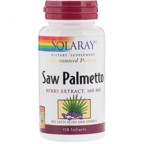 Solaray, Экстракт ягод пальмы сереноа, 160 мг, 120 мягких таблеток