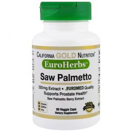 California Gold Nutrition, EuroHerbs Пальма Сереноа   XT 320 mg, VC EM, 60 карат