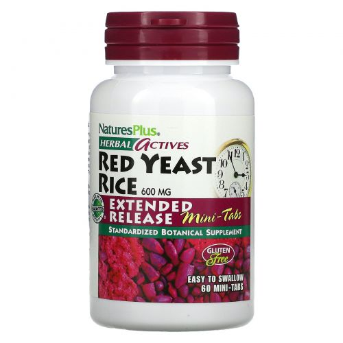 Nature's Plus, Herbal Actives, Red Yeast Rice, 600 mg, 60 Mini-Tablets