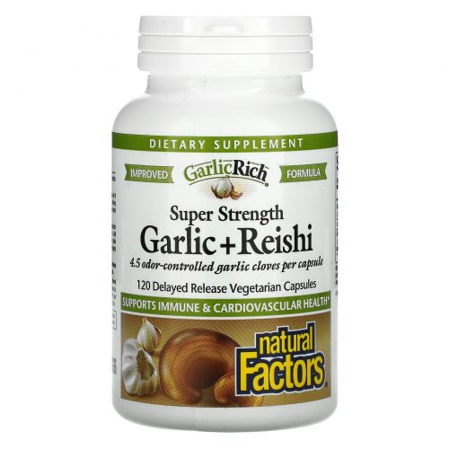 Natural Factors, GarlicRich, Super Strength Garlic + Reishi, 120 Delayed Release Vegetarian Capsules