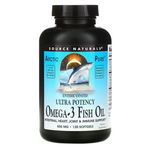Source Naturals, Arctic Pure, рыбий жир omega-3, высокоактивный, 850 мг, 120 капсул
