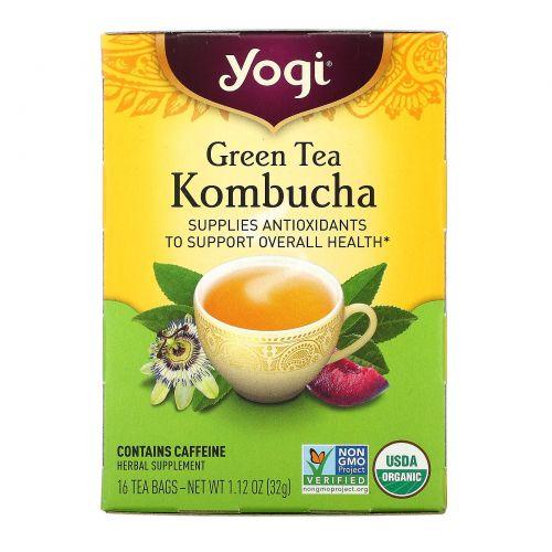 Yogi Tea, Зеленый чай с комбучей (чайным грибом), 16 чайных пакетиков, 1.12 унций (32 г)