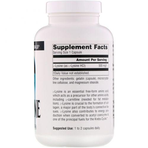 Source Naturals, L- Лизин, 500 мг, 200 капсул