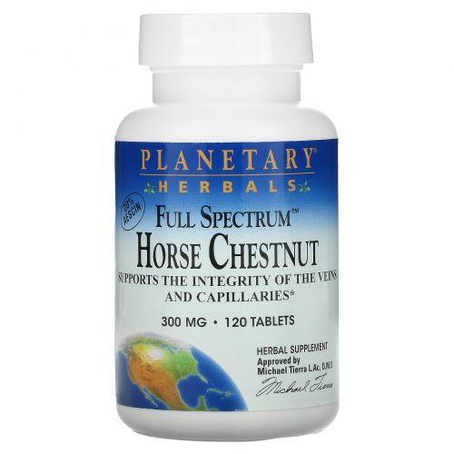 Planetary Herbals, «Полный спектр», конский каштан, 300 мг, 120 таблеток