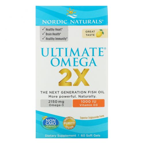 Nordic Naturals, Ultimate Omega 2X with Vitamin D3, Lemon, 60 Softgels