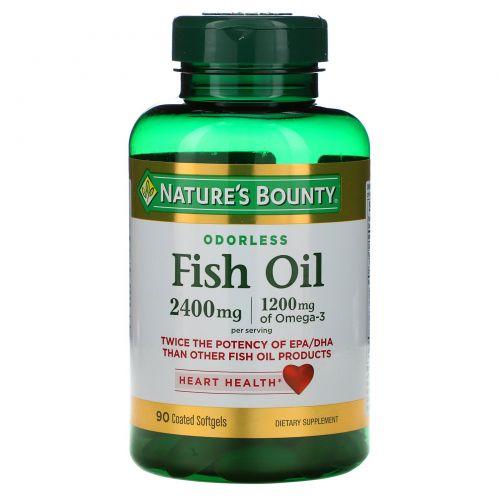 Nature's Bounty, Рыбий жир двойной силы без запаха, 2400 мг, 90 мягких капсул в оболочке