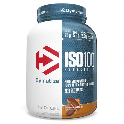 Dymatize Nutrition, ISO 100 Hydrolyzed, 100% Whey Protein Isolate, Chocolate Peanut Butter, 3 lbs (1.4 kg)