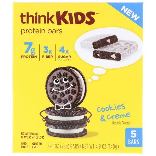 ThinkThin, ThinkKids, белковые батончики, печенье и сливки, 5 штук, по 28 г каждый