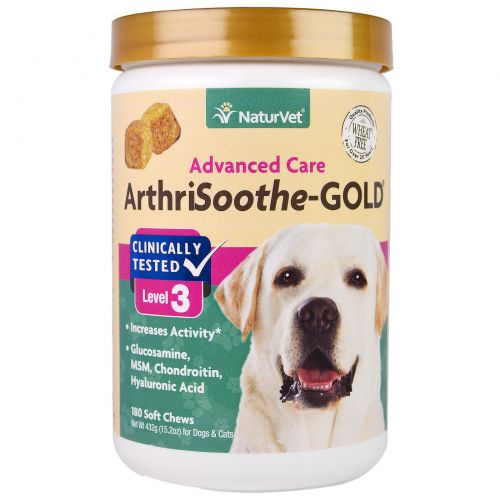 NaturVet, ArthriSoothe-GOLD, Advanced Care, Level 3, 180 Soft Chews, 15.2 oz (432 g)