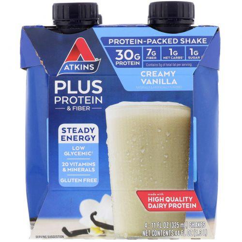 Atkins, Plus Protein & Fiber, Creamy Vanilla, 4 Shakes, 11 fl oz (325 ml) Each