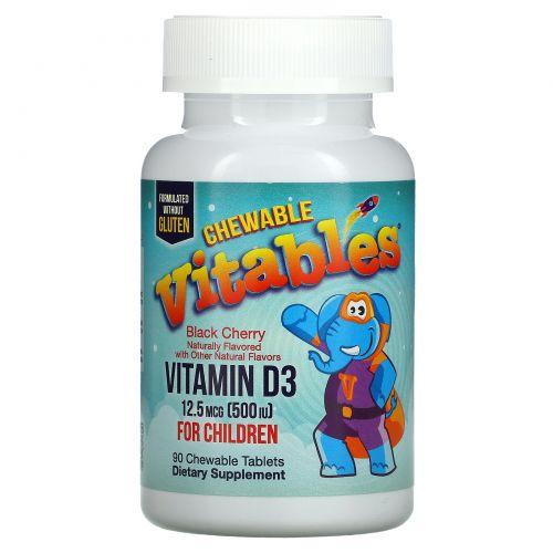 Vitables, Жевательный витамин D3 для детей, черешня, 12,5мкг (500МЕ), 90 вегетарианских таблеток