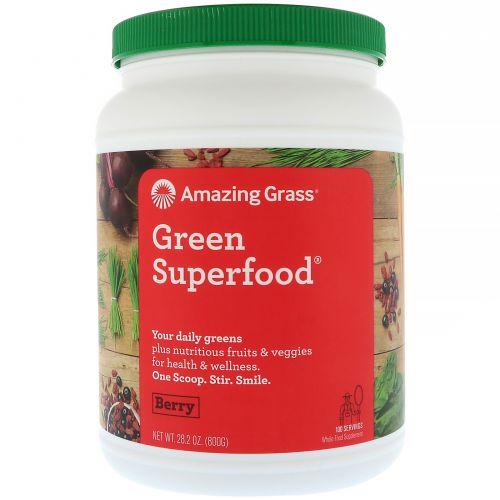 Amazing Grass, Зеленая суперпища, порошок для приготовления ягодного напитка, 28,2 унции (800 г)