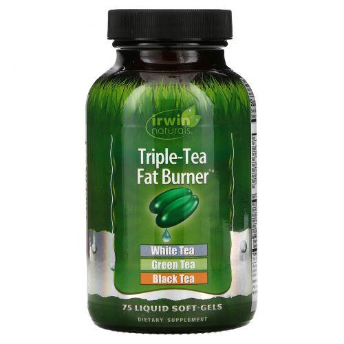 Irwin Naturals, Сжигатель жира Тройной Чай, 75 гелевых капсул с жидким наполнением