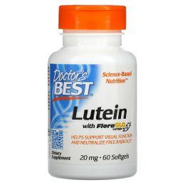Doctor's Best, Лютеин с использованием лютеина FloraGlo, 20 мг, 60 мягких капсул