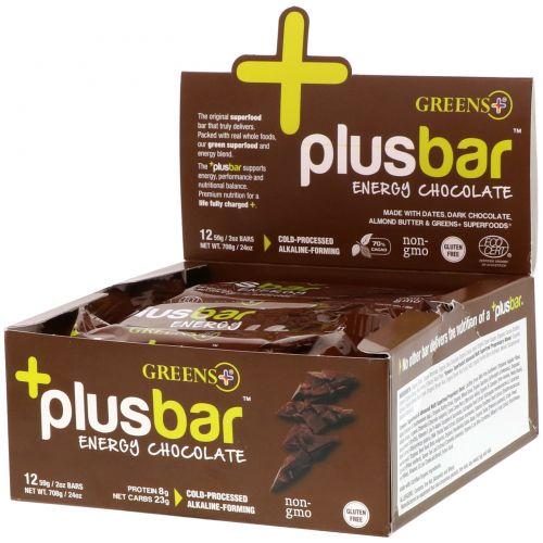 Greens Plus, PlusBar, энергетический шоколад, 12 батончиков, 2 унции (59 г) каждый