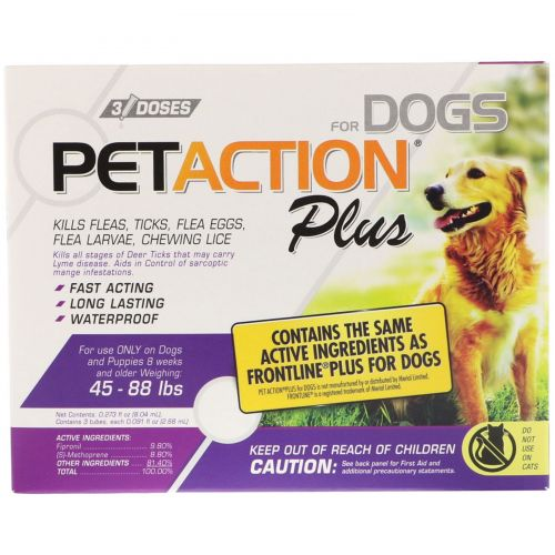 Pet Action Plus, For Large Dogs, 3 Doses - 0.091 fl oz Each