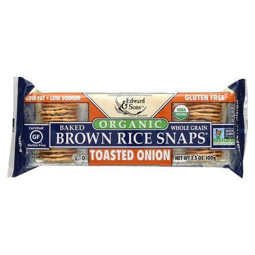 Edward & Sons, Запеченное хрустящее печенье из коричневого риса с поджаренным луком, 3,5 унции (100 г)