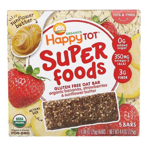 Happy Family Organics, Organics Happy Tot, суперпища, безглютеновый овсяный батончик, органические бананы, клубника и подсолнечная паста, 5батончиков, 25г каждый