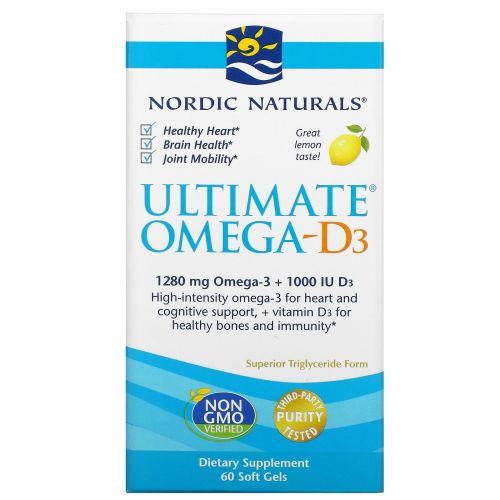 Nordic Naturals, Ultimate Omega-D3, лимон, 1000 мг, 60 капсул