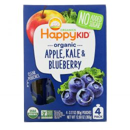 Nurture Inc. (Happy Baby), Happy Squeeze, органические суперпродукты, Twist, органические яблоко, капуста и голубика, 4 упаковки, 3,17 унции (90 г) в каждой