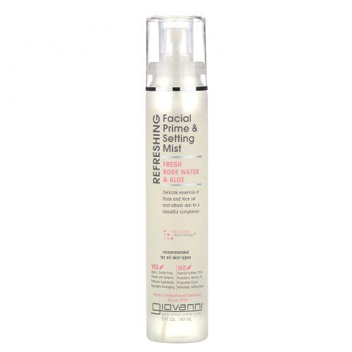 Giovanni, Refreshing Facial Prime & Setting Mist, Fresh Rose Water & Aloe, 5 fl oz (147 ml)