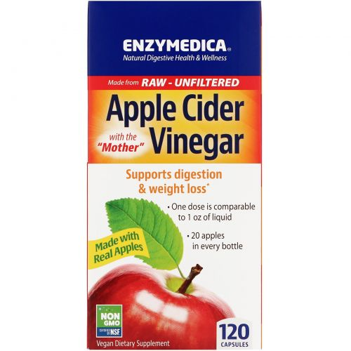 Enzymedica, Apple Cider Vinegar with the Mother,  120 Capsules