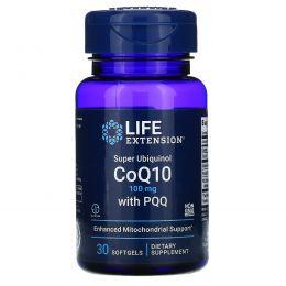 Life Extension, Супер убихинол - коэнзим Q10, с BioPQQ, 100 мг, 30 желатиновых капсул