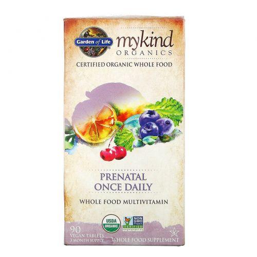 Garden of Life, mykind Organics, предродовой, один раз в день, 90 веганских таблеток