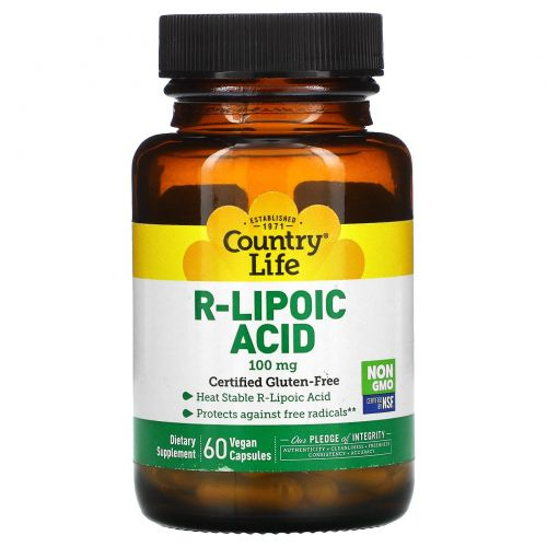 Country Life, R-липоевая кислота, 100 мг, 60 вегетарианских капсул