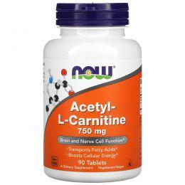 Now Foods, Ацетил-L-карнитин, 750 мг, 90 таблеток